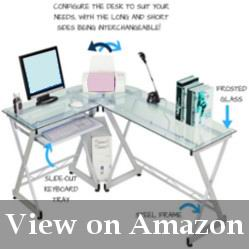 Clear Tempered Glass Corner Desk with a Keyboard Tray Review